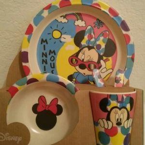 Disney Minnie Mouse Bamboo Dish Set